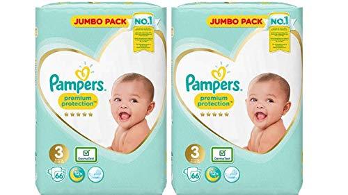 Pampers Premium Protection Windeln Größe 3, 2 x 66=132, Jumbo-Packungen