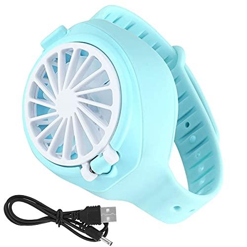 Watch Fan, USB Mini Portable Muñeca Fan Watch-Shape, humidificado Ventilador de reloj personal para viajes al aire libre de la oficina en casa (blue)