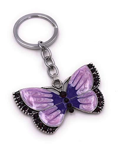 H-Customs Schmetterling Falter Tier lila Strass Silber Schlüsselanhänger Anhänger