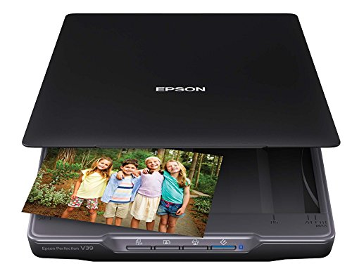 Epson Perfection V39 Color Photo & Document Scanner with Scan-To-Cloud & 4800 Optical Resolution, Black