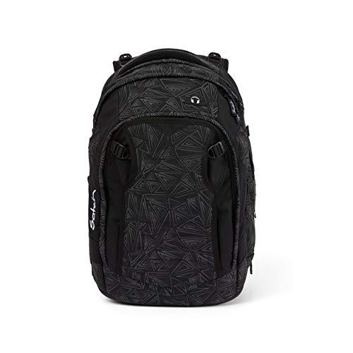 Satch match Schulrucksack - ergonomisch, erweiterbar auf 35 Liter, extra Fronttasche - Ninja Bermuda - Black