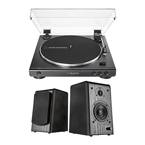 Audio-Technica AT-LP60X USB Turntable (Black) with Microlab Pro1BT Bookshelf Speakers