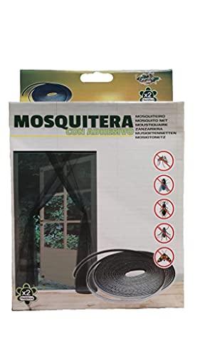 Malla mosquitera Standard con adhesivo, velcro para puertas y ventanas, 2 telas de 75 cm x 220 cm, color negro