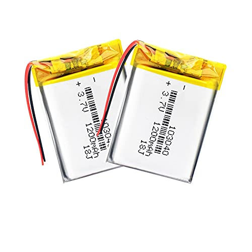 2 pcs 3.7v 1200mah Li-Polymer 103040 Batería Recargable, para Mp3 Mp4 Mp5...