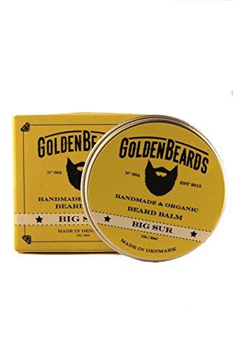 Golden Beards Organic Beard Balm - Big Sur 100% Natural Jojoba & Argan & Apricot Oil - 30 Ml