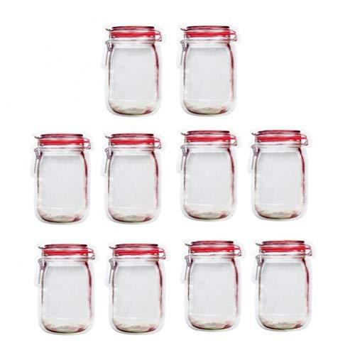 PiniceCore 10pcs Mason Jar Cremallera Bolsas Reajustables Food Saver Cierre De Bolsas De Almacenamiento De Alimentos para Candy Galletas Merienda