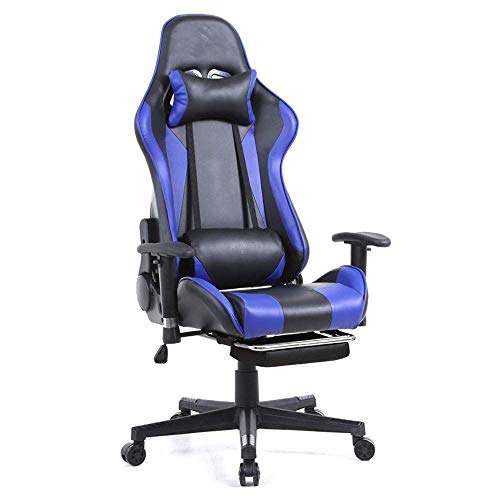 WSDSX Office Chairs Gaming Chair Office Desk Chair High-Back Gaming Recliner with Footrest Ergonomic Video Chair PU Leather Swivel E-Sports Chair (Color : A)
