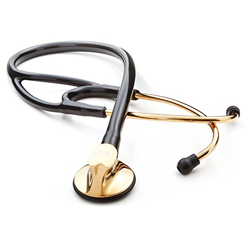 ADC Adscope 600 Platinum Series Cardiology Stethoscope with Tunable AFD Technology, 27 inch Length, Titanium-Gold Plated Finish