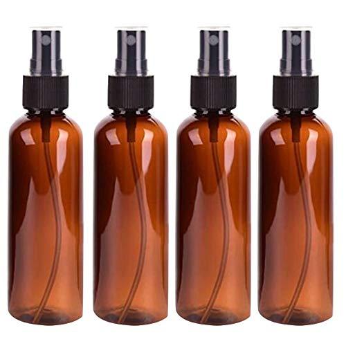4 Stück Braunglas Sprühflaschen, 100 ml Nachfüllbare Glas Sprühflasche Feinnebel Zerstäuber Sprüher Spray Bottle für Parfüms, Öle, Flüssigkeit und Festiger
