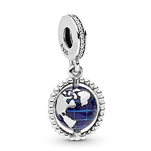 Pandora Fashion 925 Charm Au Ntic Sterling Silver Spinning Globe Cuelga La Pulsera Original Para Las Mujeres Diy Jewelry