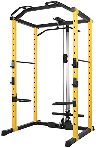 HulkFit 1000-Pound Capacity Multi-Function Adjustable Power Cage with J-Hooks, Dip Bars and Other...
