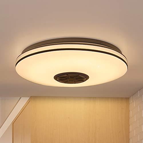 Luz de techo LED inteligente, Tendlife Music Luz de techo circular Bluetooth, Lámpara de araña regulable por altavoz, Luz de control de aplicación Bluetooth compatible, para dormitorio/sala de estar
