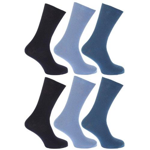 HDUK Mens Socks - Homme Chaussettes Non Elastiques 100prozent Coton Haut Nervurée ample large (Lot de 3 Paires) - Clair mode, 46-48 EU