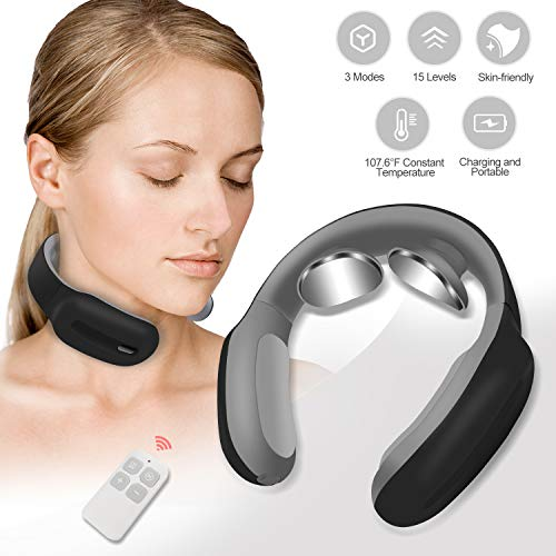 Review Neck Massager with Heated 4D Smart Cordless Pulse Neck Massager 3 Modes and 15 Speeds Electri...