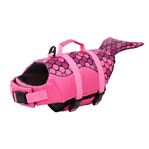 Surblue Dog Life Jacket Flotation Vest Saver Swimsuit Preserver Pet Adjustable Safety Coat for Water Safety at The Pool, Beach, Boating,Swimming (Medium, Rose)