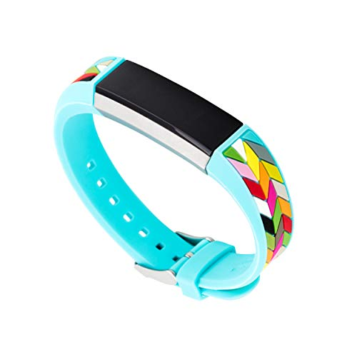 WITHit French Bull Silicone Replacement Band for Fitbit Alta/Alta HR, Blue Ziggy – Secure, Adjustable Stainless-Steel Buckle Closure, Fitbit Watch Band Replacement, Sweat-Resistant, Fits Most Wrists