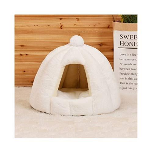 YSJ LTD huisdier-katten-kave tent huis kennel winter warm dog nest opvouwbare slaapstoel mat puppy mand, kleine hond kat bed wit