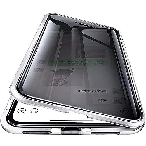 HHZY Anti Espía Funda para iPhone 13 Pro MAX, 360 Grados Protección Case Ambos Lados Vidrio Templado de Privacidad Cubierta, Adsorción Magnética Parachoques de Metal Carcasa,Plata,For 13 Mini