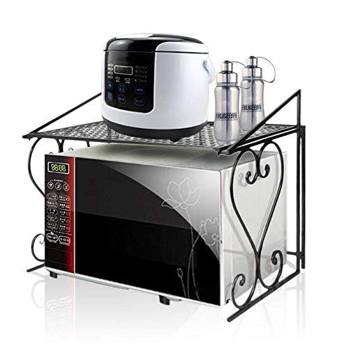 Rejilla para Horno microondas Hierro Negro Estante de Cocina de Moda Diseño de Malla y Plegable Estante de Almacenamiento Plegable Montado en el Piso Fácil Montaje Ahorro de Espacio