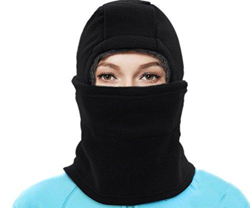 BACKSPORT BACKSPORT Damen Herren Balaclava Sturmhaube Schalmütze Maske Mütze Wintermütze Ski Radfahren Warm Gefüttert (#B Schwarz)