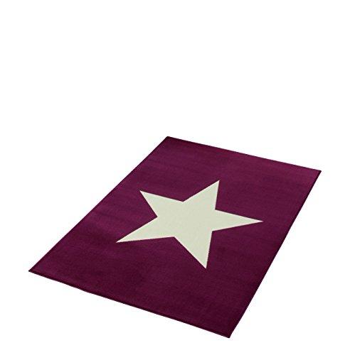 Hanse Home Tapis Design Velours étoile 140 x 200 cm en polypropylène Violet/crème 140 x 200 x 0,9 cm