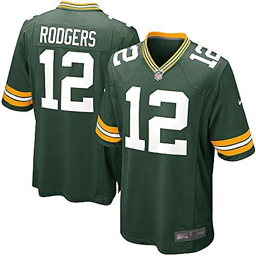 Packers 12# Rodgers Lastest Home and Away Besticktes American Football Trikot Kurzarm Rugby Fan Shirt für Männer Jugend S-XXXL L Green