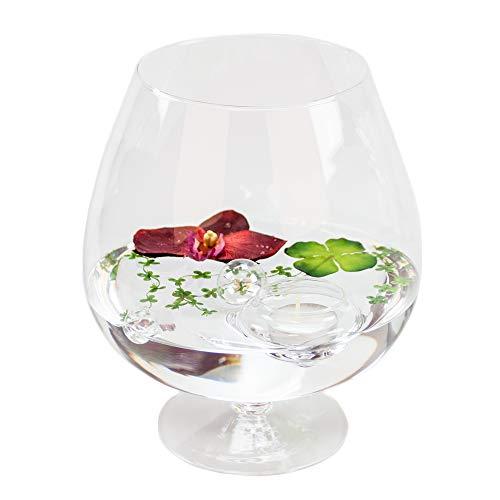 Cognacglas crédits h 24 cm ø 13 cm avec décoration (orchidée rouge)