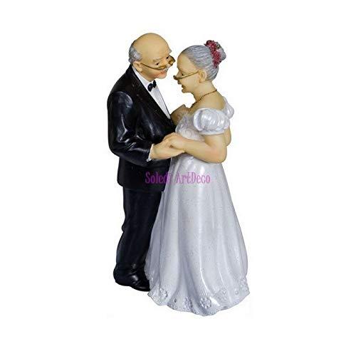 Doge Grande Figurine Couple Marié Depuis 50 Ans, Anniversaire Mariage Noces d'or, 15,8x8,7x6,7cm,par la Main