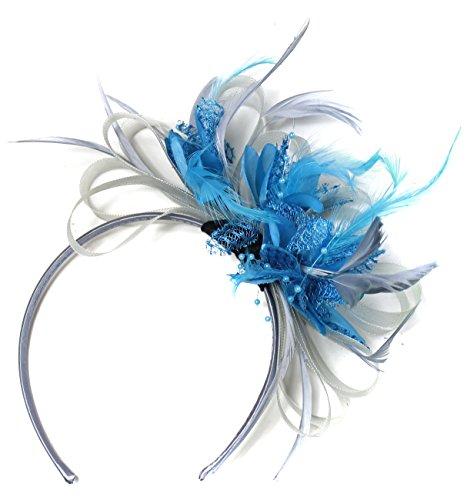 Tocado para boda con velo y plumas, color gris plateado y azul marino, para bodas y carreras