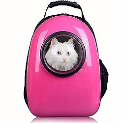 un portador de cáscara dura de color rosa brillante por la parte inferior con la ventana de la cápsula espacial