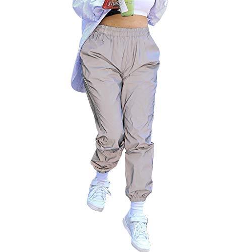 LLLucky Womens Largo Mezza Vita Trave Pantaloni Harem Tinta Unita Pantaloni Riflettenti Notte Hip Hop Tasche Running Jogging Pant Medio