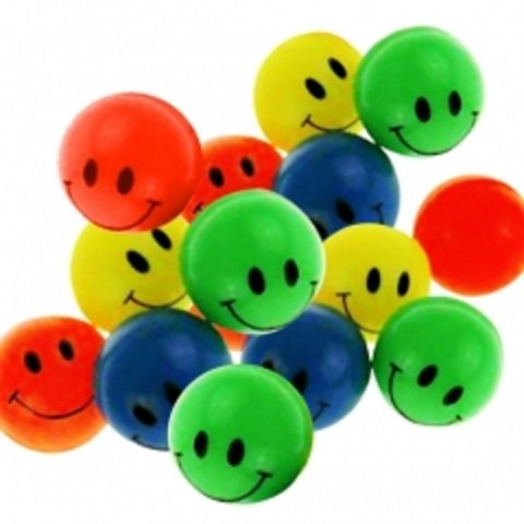 15 Smiley Flummis 27mm Lachgesicht Gummiball Springball