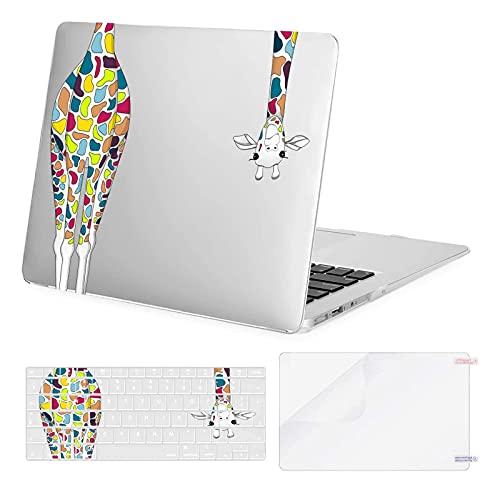 MOSISO Funda Dura Compatible con MacBook Air 13 Pulgadas 2010-2017 A1369 A1466,Carcasa de Plástico Rígido de Jirafa & Cubierta de Teclado & Protector de Pantalla, Transparente