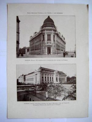 Antigua Lámina - Old Sheet : SUIZA : BASILEA - Administración Central de Correos; GINEBRA - Museo Central