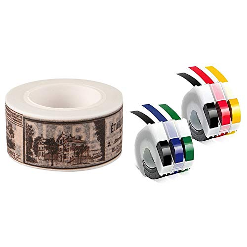 SNOWINSPRING 1 Pcs Flower Washi Tape 10M Auto Decorative Art Adhesive Sticky Paper & 1 Set Embossing Label Maker Tapes 9mm X 3mm