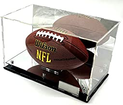 Premium Quality Acrylic Full Size Football Display Case 2 Level Riser Mirrored 12x9x9 inches