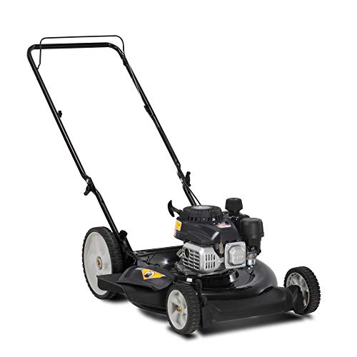 Yard Machines 132cc OHV 21-Inch 2-in-1 Gas Powered Walk Behind Push Lawn Mower with High Rear Wheels - Side Discharge and Mulching Capabilities, Black (11A-B0MA700)