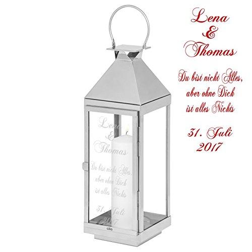 Geschenke 24: Laterne mit Wunschgravur 36 cm hoch - gravierte Laterne - personalisierte Laterne in verschiedenen Größen - Geschenkidee für Frauen