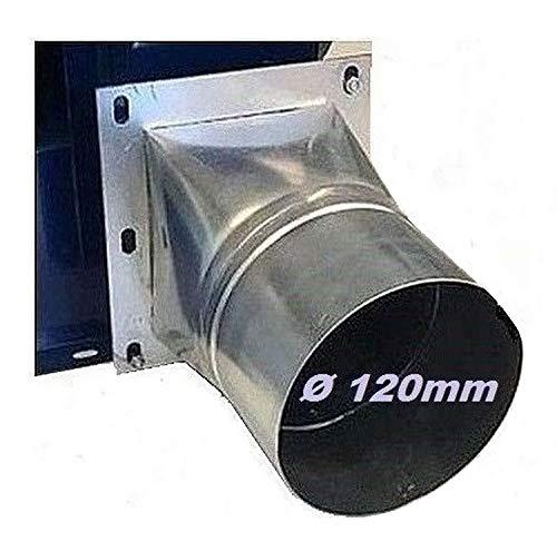 Uzman-Versand 4 Eck/Rund FLANSCH 120mm Durchmesser Adapter Rohranschluss Schlauchanschluss für Radialgebläse Radiallüfter Radialventilator Radial Ventilator Lüfter Gebläse