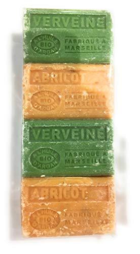 Label Provence - Lot de 4 savons de Marseille à l'huile d'argan BIO senteur Verveine/Abricot- 4x100gr