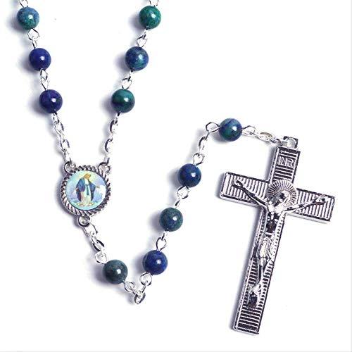 Religiosas De Moda Pequeño Tamaño Azul Natural Piedra Cuentas Virgen María Cadena Rosario Católico Collar Longitud 52 Cm