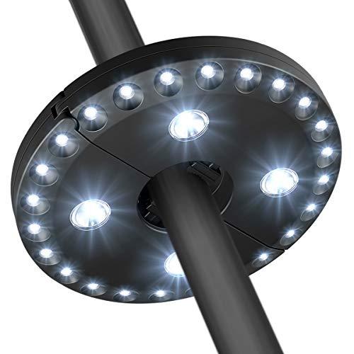 AMIR (Upgraded Version) Patio Umbrella Light, Cordless 24 LED Night Lights, 12,000 lux Umbrella LED Light, Battery Operated Umbrella Pole Light for Umbrellas, Camping Tents or Outdoor Use (Black)