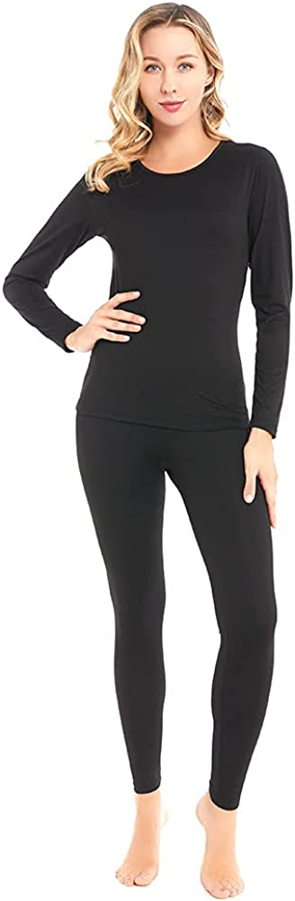 qingduomao Thermal Underwear for Women Ultra-Soft Long Johns Set Cotton Base Layer Winter Ski Warm Top & Bottom