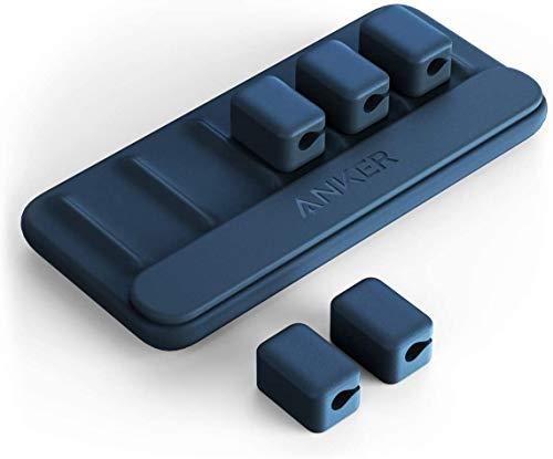 Anker Magnetic Cable Holder (マグネット式 ケーブルホルダー) ライトニングケーブル USB-C ケーブル Micro USB ケーブル 他対応 (ブルー)