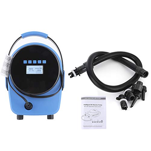 Electric SUP Air Pump, 12V Portable High Pressure Compressor Fast Inflation, Intelligent Two-Stage Auto Shut Off with LCD Digital Display and Built-in Temperature Sensor for Air Mattresses Boats Tent