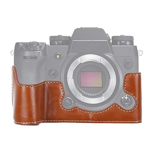 YAOLAN Kameratasche & Zubehör Tasche 1/4 Zoll Faden PU Leder Kamera Half Case Base for FUJIFILM X-H1 (Schwarz) (Color : Brown)