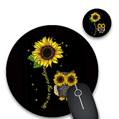 Round Mouse Pad and Coasters Set, Sunflower and Owl Mousepad, Non-Slip Rubber Round Gaming Mouse Pad, Customized Mouse Mat for Home Office Business Gaming,7.87 x 7.87 x 0.1 Inch