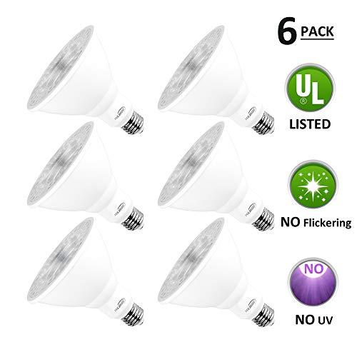 Par38 Led Light Bulbs Warm White 3000k Dimmable, E26 Led Bulb Base 18w (180watt Equivalent) Recessed Lighting, Outdoor Led Flood Light Bulbs Indoor, Energy Saving Light Bulbs Efficient (6 Pack)