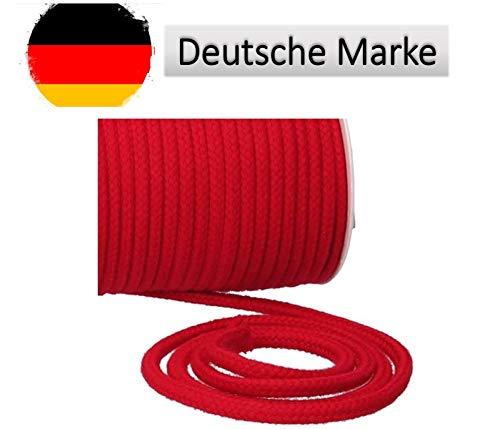 Turnbeutelliebe® Kordel 100% Baumwolle 8mm breit, dick - für Turnbeutel, Taschen & Hosen - zum nähen - viele Farben und Längen - geflochten - Schnur - Seil - Bastelschnur - Band (rot, 3)