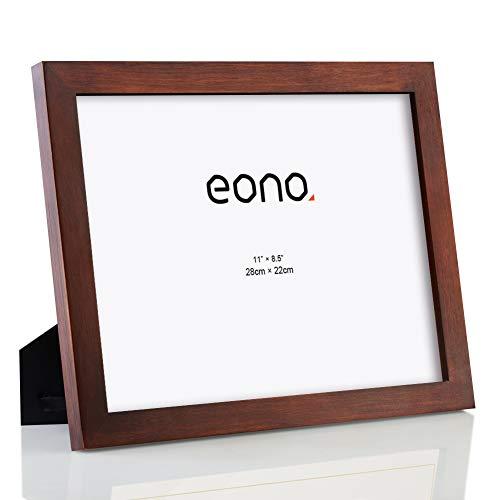 Eono by Amazon - Marco para Diplomas y Documentos de Madera Maciza y Cristal de Alta Definición con pie de Apoyo para Sobremesa 22x28 cm Marrón